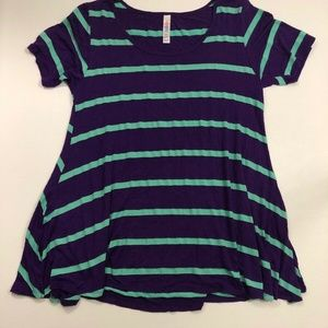 LuLaRoe Size Small Purple & Green Stripe Shirt Top